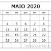 Calendário maio de 2020 Imprimir PDF