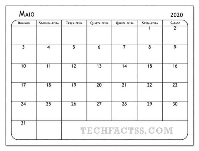 Calendário maio de 2020