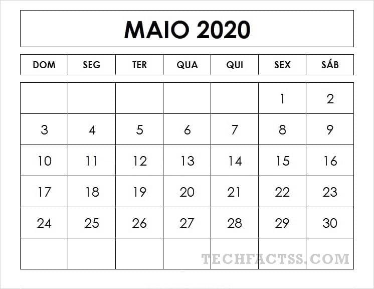 Calendário Maio 2020 Para Imprimir