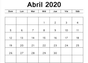 Calendário Abril 2020 para Imprimir Notas