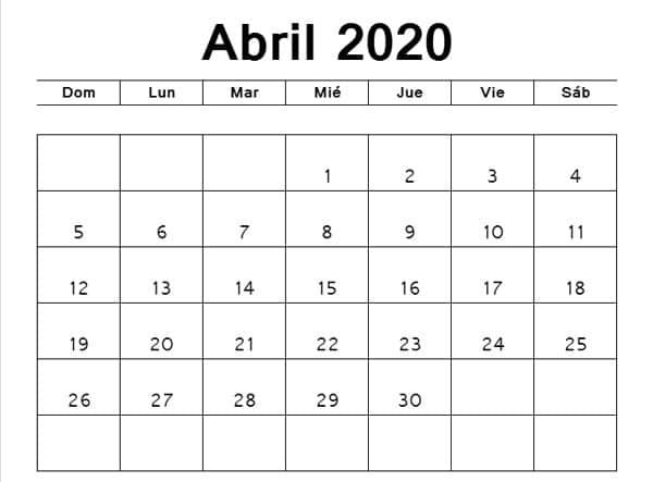 calendario abril 2020 imprimir