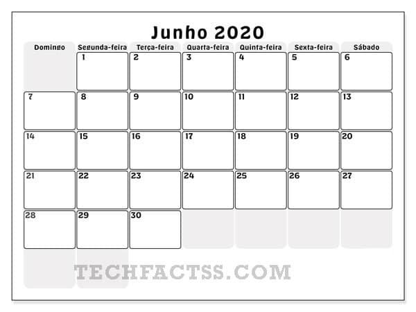 calender june 2020