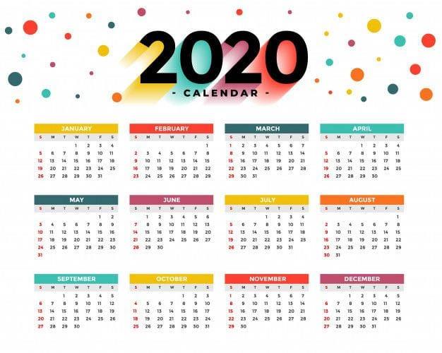 Grátis Calendário 2020