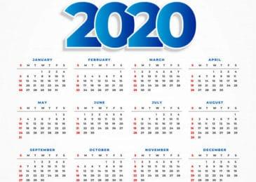Grátis Calendário 2020 Com Datas De Feriados Nacionais