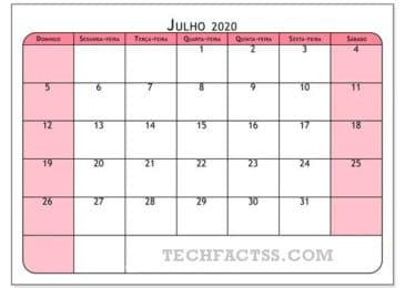 Calendário Julho 2020 para Imprimir Notas