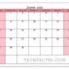 Calendário junho de 2020 para impressão de notas